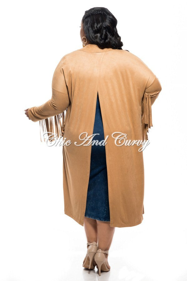 New Plus Size Jacket in Faux Suede with Fringe Sleeves and Slit Back in Camel