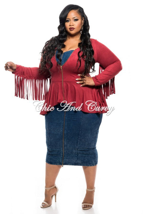 Final Sale Plus Size Short Jacket with Peplum and Fringe Details in Burgundy