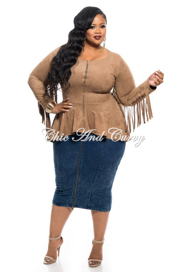 New Plus Size Short Jacket with Peplum and Fringe Details in Mocha