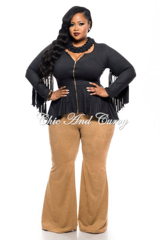 New Plus Size Short Jacket with Peplum and Fringe Details in Black