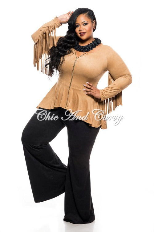 Final Sale Plus Size Short Jacket with Peplum and Fringe Details in Camel