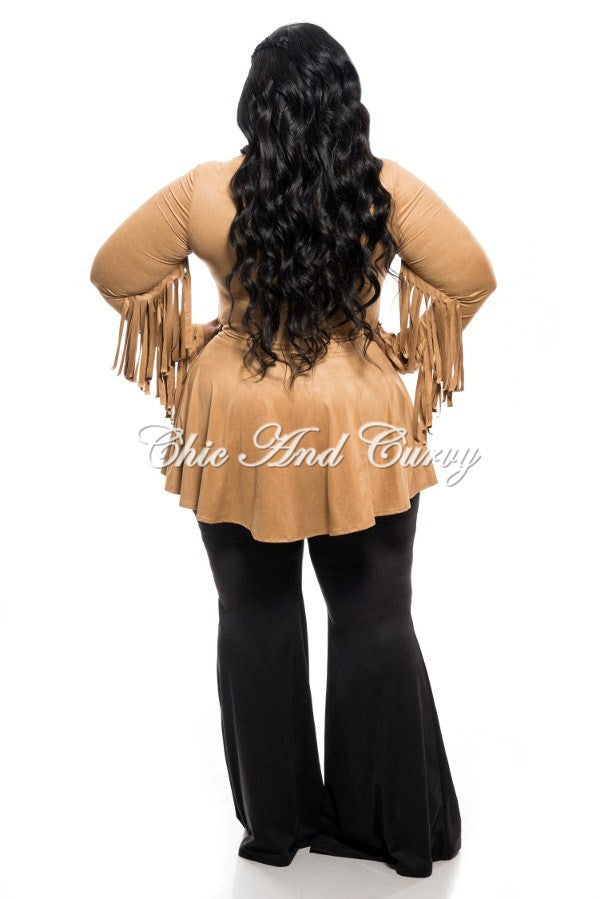 New Plus Size Short Jacket with Peplum and Fringe Details in Camel