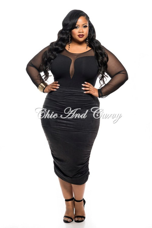 Final Sale Plus Size Skirt with Ruched Sides in Black