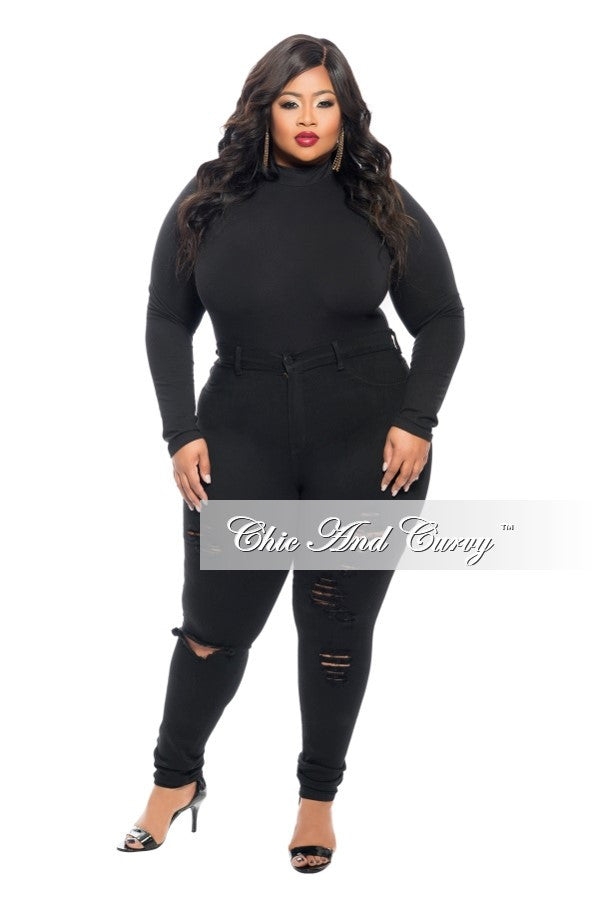 Final Sale Plus Size Leotard with Long Sleeves in Black