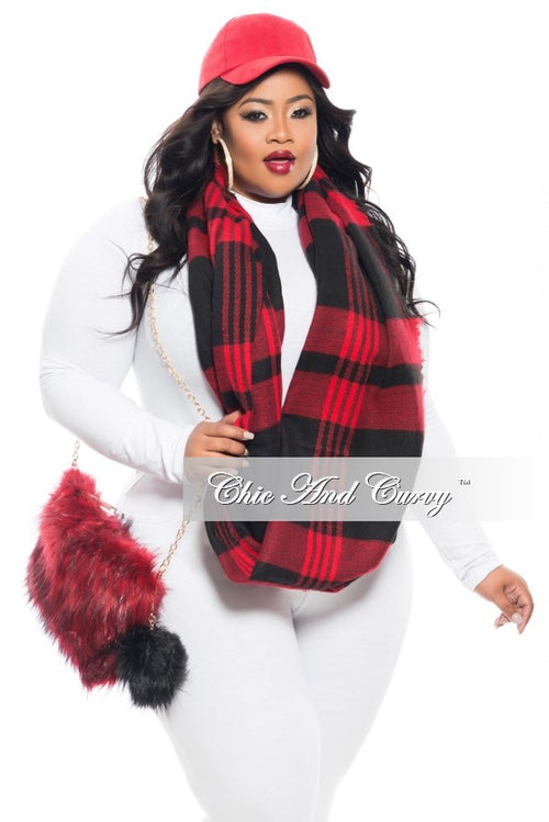 Final Sale - The Total Package: Hat, Scarf and Purse Red and Black or Red and Black Scarf Only