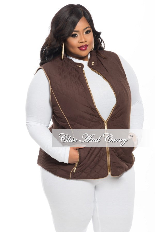 New Plus Size Puff Vest with Gold Zipper in  Brown