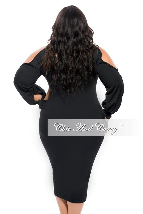 New Plus Size BodyCon Dress with Open Shoulders and Wrist Tie in Black