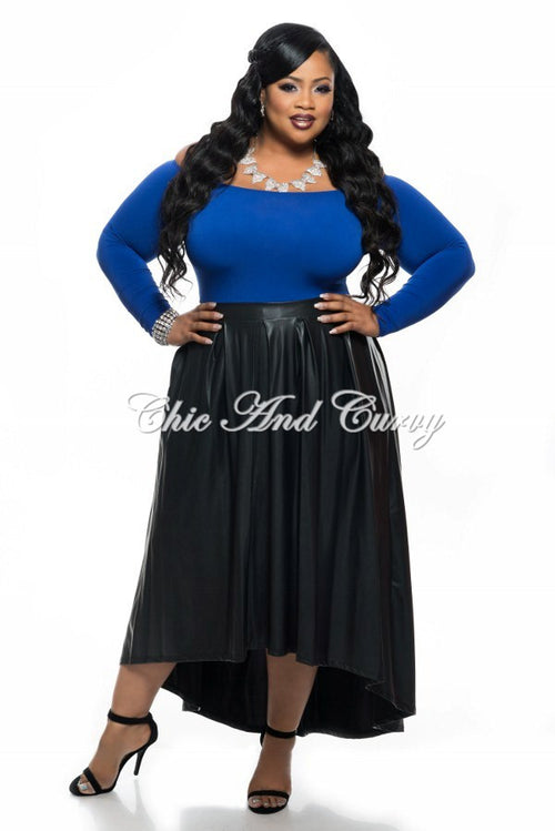 50% Off Sale - Final Sale Plus Size Off the Shoulder Top in Royal Blue w/ Liquid High Low Skirt in Black