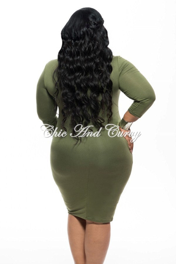 New Plus Size BodyCon with Lace Up Front and Zipper Back in Olive