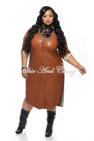 50% Off Sale - Final Sale Plus Size Rain Jacket with Snap Closure and Side Slits in Camel