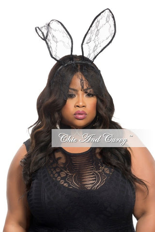 Final Sale Bunny Ears in Black Lace