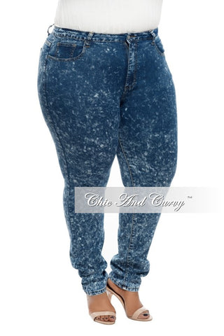New Plus Size High Waist Acid Skinny Denim with 2 Back Pockets