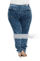 Final Sale Plus Size High Waist Acid Skinny Denim with 2 Back Pockets