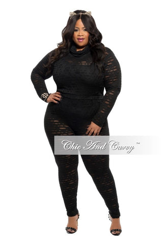 50% Off Sale - Final Sale Plus Size 2-Piece Pant and Top Sheer Design Set in Black