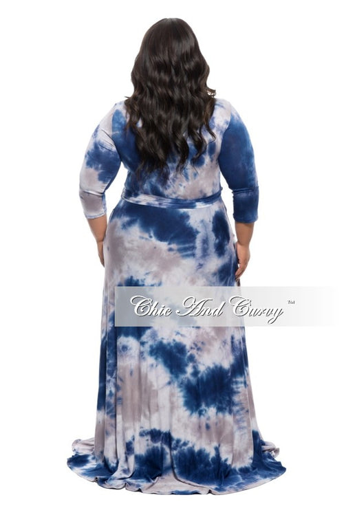 New Plus Size Long Dress with 3/4 Sleeve and Tie in Blue and Grey Tie Dye