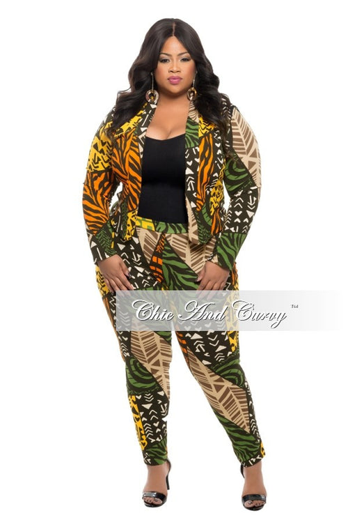 Final Sale Plus Size 2-Piece Jacket and Pants Suit in Tribal Print