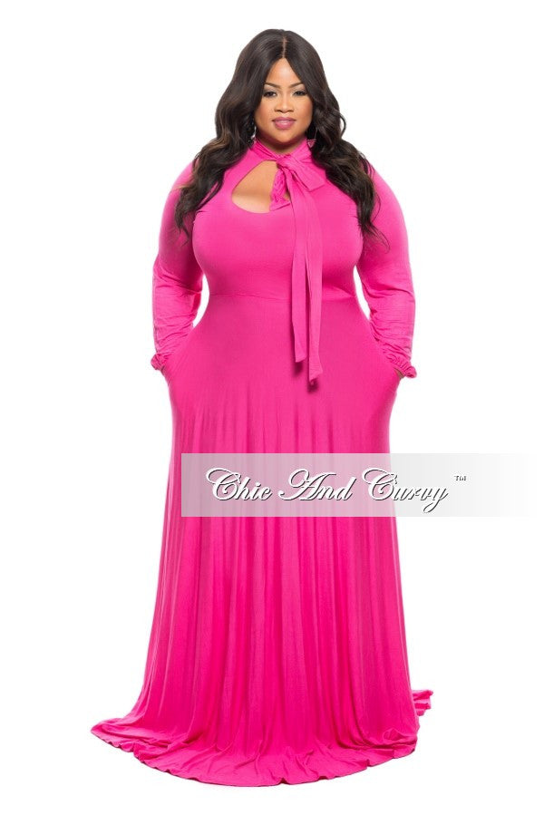 35% Off Sale - Final Sale Plus Size Long Dress with Long Sleeve with Neck Bow Tie in  Hot Pink