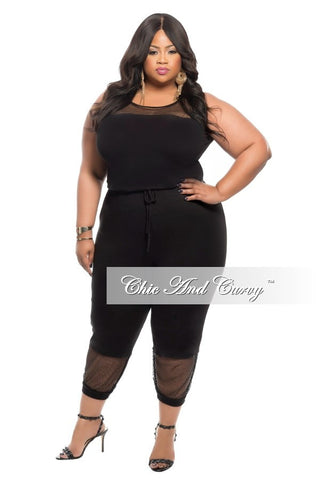 New Plus Size Cropped Sleeveless Jumpsuit with Mesh Cutouts in  Black