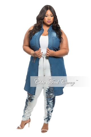 New Plus Size Top/Duster in  Denim Blue