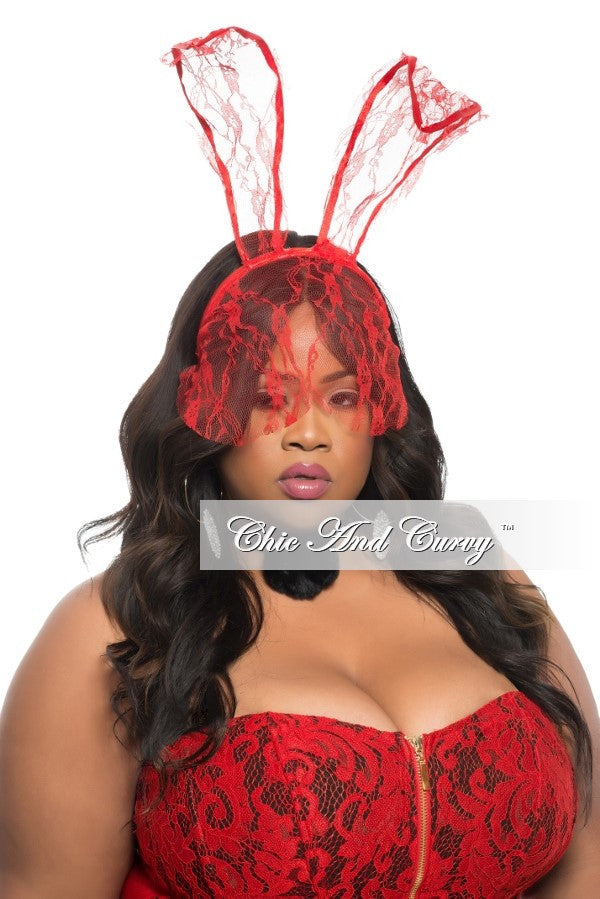 Final Sale Bunny Ears in Red Lace