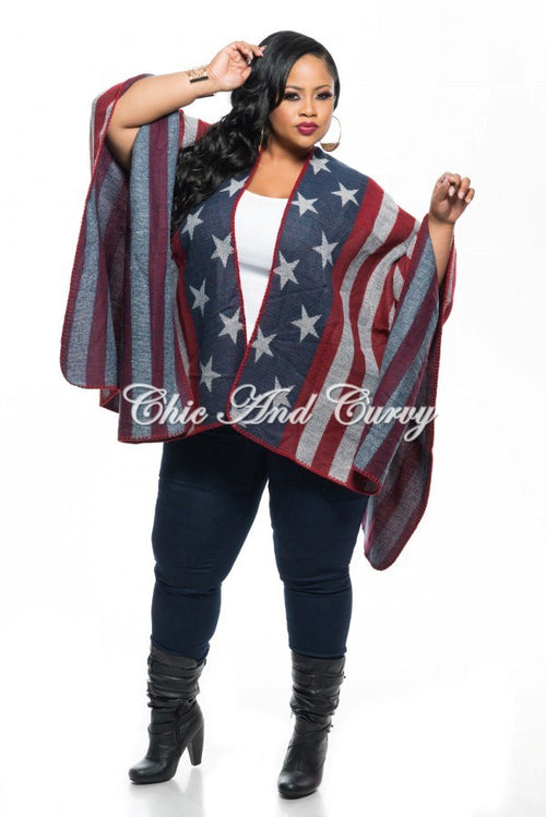 Final Sale Plus Size Shawl in American Flag Print Navy Blue, Red, and Gray One Size