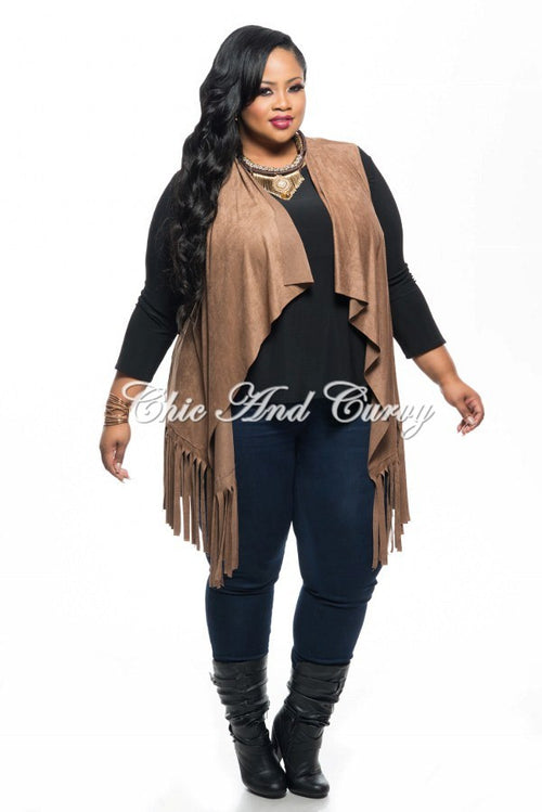 Final Sale Plus Size Faux Suede Vest w/ Fringe Bottom in Tan