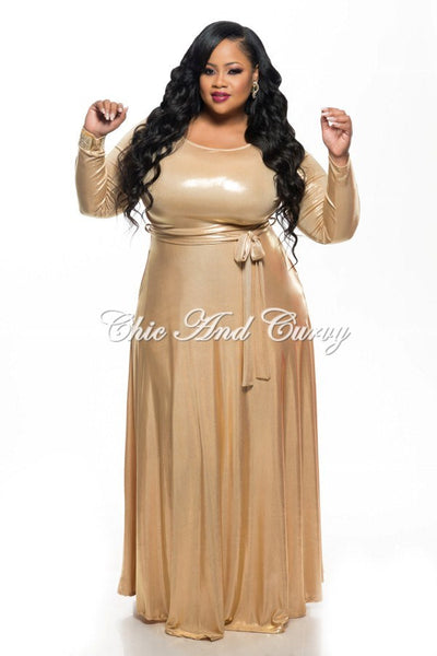 New plus size long sleeve dress w tie in shiny gold for Chic and curvy wedding dress