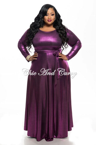 Final Sale Plus Size Long Sleeve Dress w/ Tie in Shiny Purple
