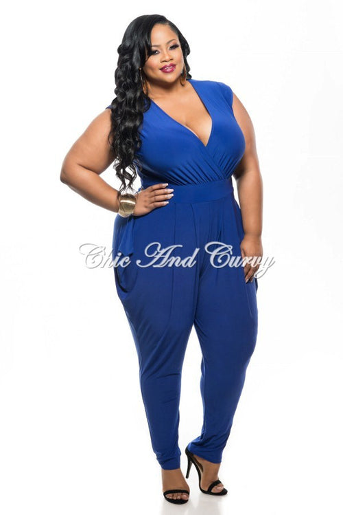 Final Sale Plus Size Sleeveless Harem Jumpsuit w/ V-Neck in Blue
