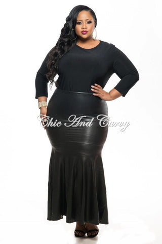 New Plus Size Faux Leather Skirt w/ Mermaid Bottom in Black