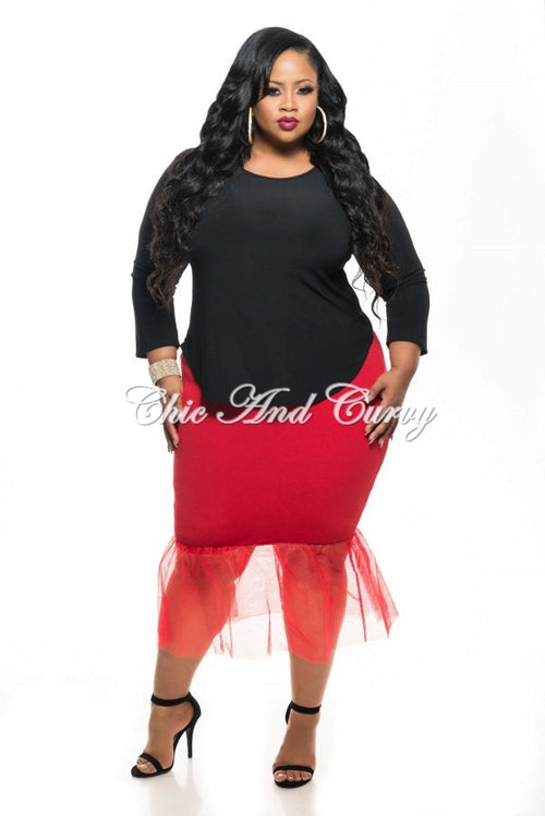 New Plus Size Skirt with Tulle Bottom in Red