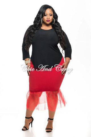 New Plus Size Skirt w/ Tulle Bottom in Red