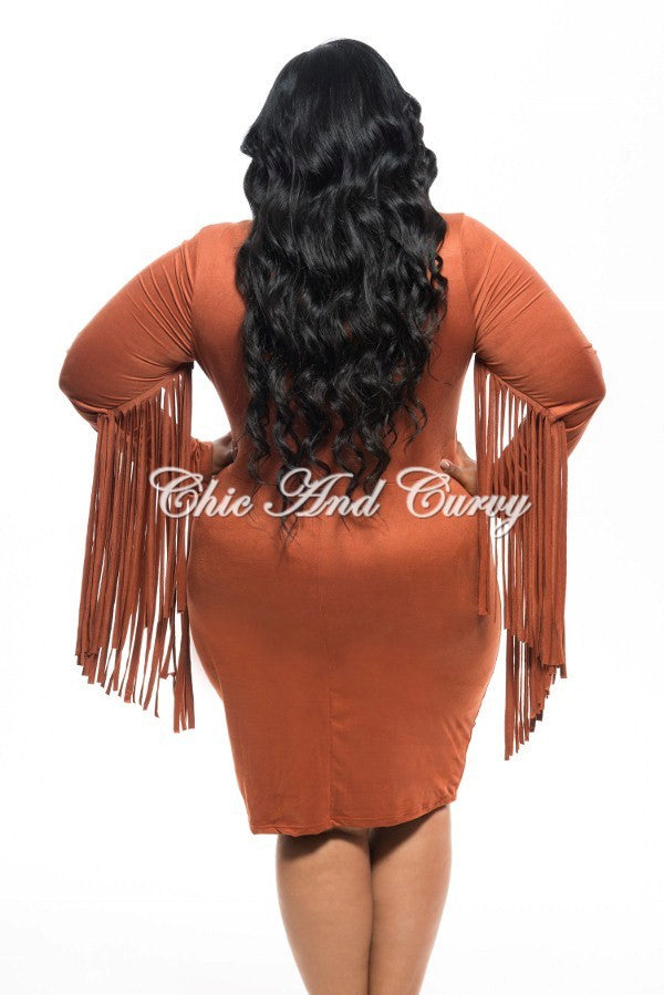 New Plus Size Faux Suede BodyCon w/ V-Neck and Fringe Trimmed Sleeves in Burnt Orange
