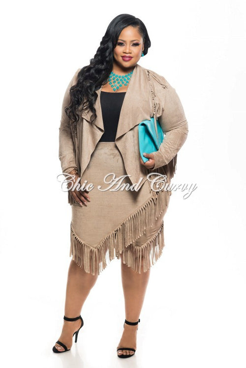 New Plus Size 2-Piece Faux Suede Jacket and Skirt w/ Fringe Trim in Tan