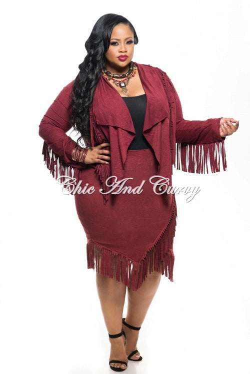 New Plus Size 2-Piece Faux Suede Jacket and Skirt w/ Fringe Trim in Burgundy