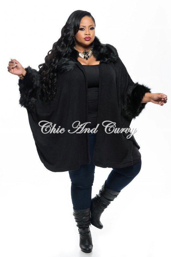 New Plus Size Poncho w/ Faux Fur Collar and Sleeve Trim in  Black