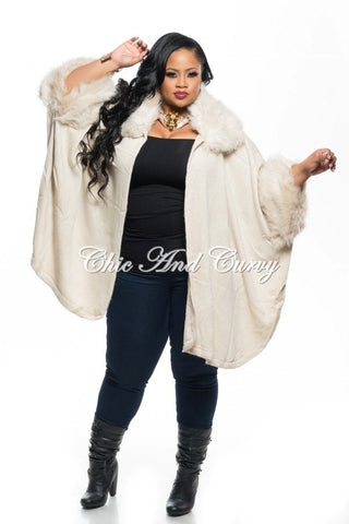 New Plus Size Poncho w/ Faux Fur Collar and Sleeve Trim in Ivory One Size