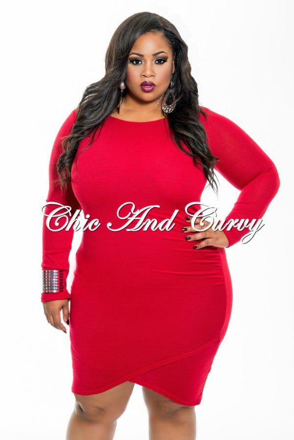 New Plus Size BodyCon with Front Overlay and Ruched Side in Red