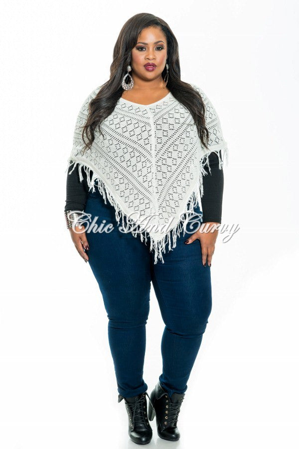 Final Sale Plus Size Poncho w/ V Fringe Bottom in Off White One Size
