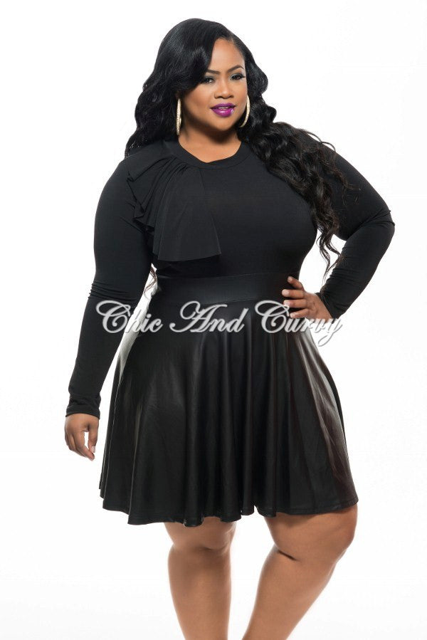 50% Off Sale - Final Sale Plus Size Skater Dress with Side Ruffle ... 26a2933e7