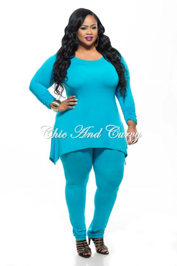 Final Plus Size 2-Piece Set Top and Pants in Blue