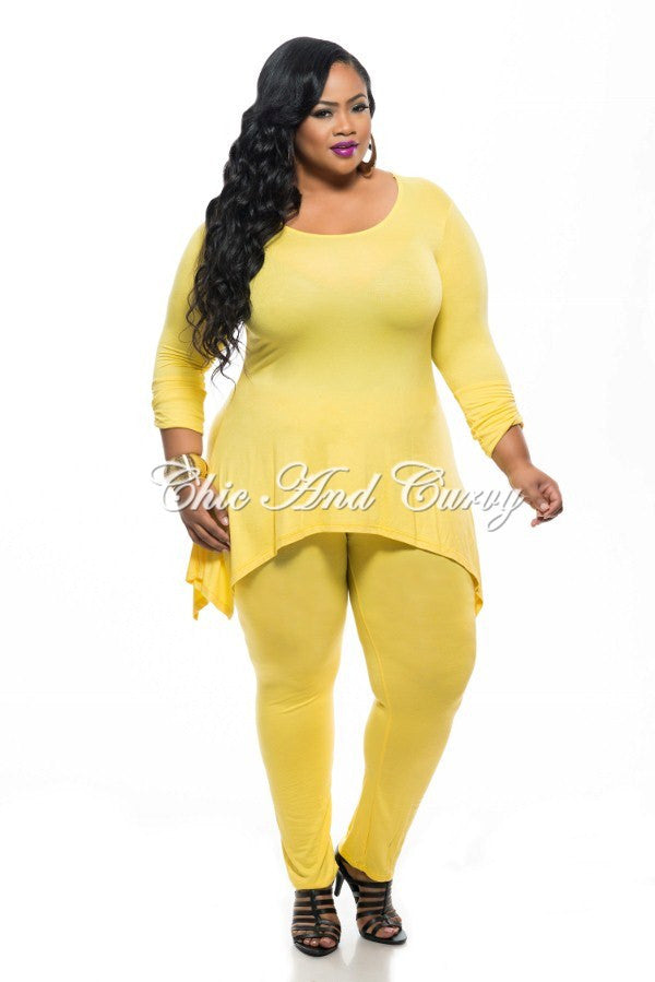 Final Sale Plus Size 2-Piece Set Top and Pants in Yellow