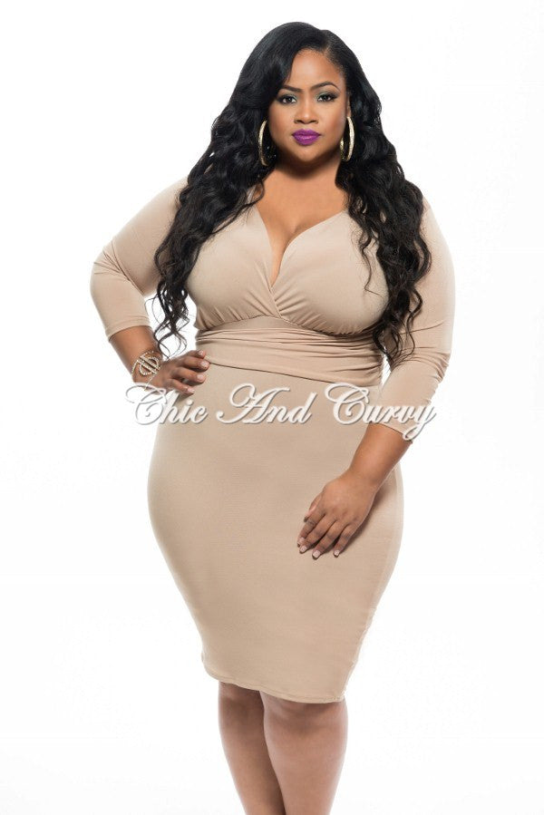 New Plus Size BodyCon Dress with Plunge Neckline in Tan