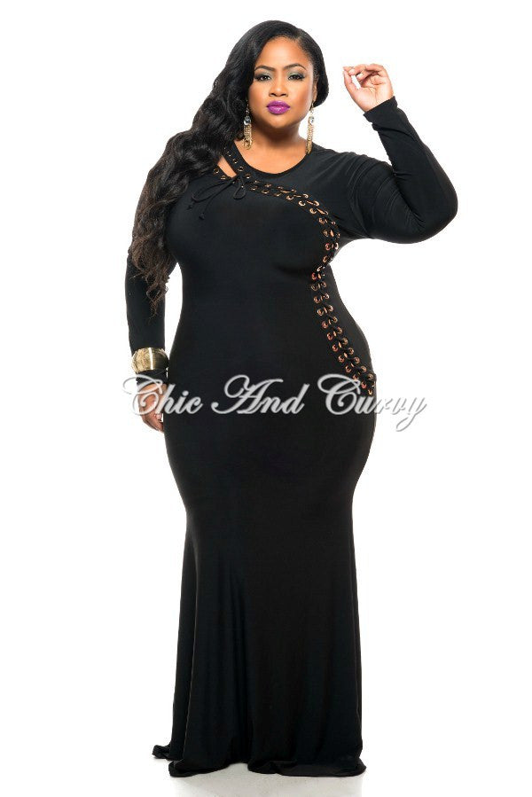 New Plus Size BodyCon Dress with Long Sleeves and Gold Ring Lace ...