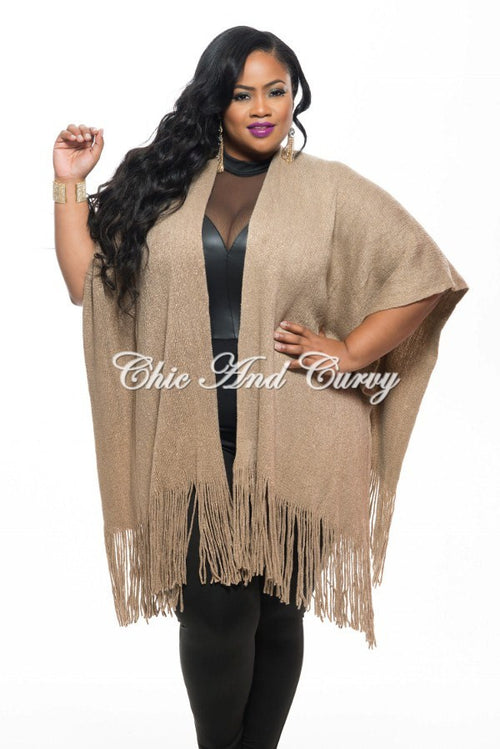 New Plus Size Shawl w/ Fringe Trim in Brown and Gold Shimmer One Size