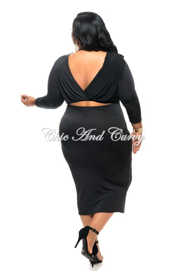 New Plus Size BodyCon Dress with V-Neck and Draped V Back Out Design in Black