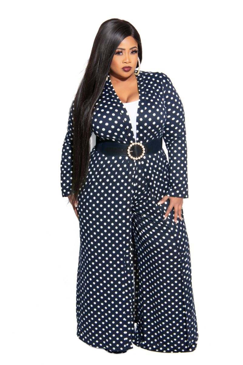 New Plus Size Exclusive Pocket Duster In Navy with White Polka Dots