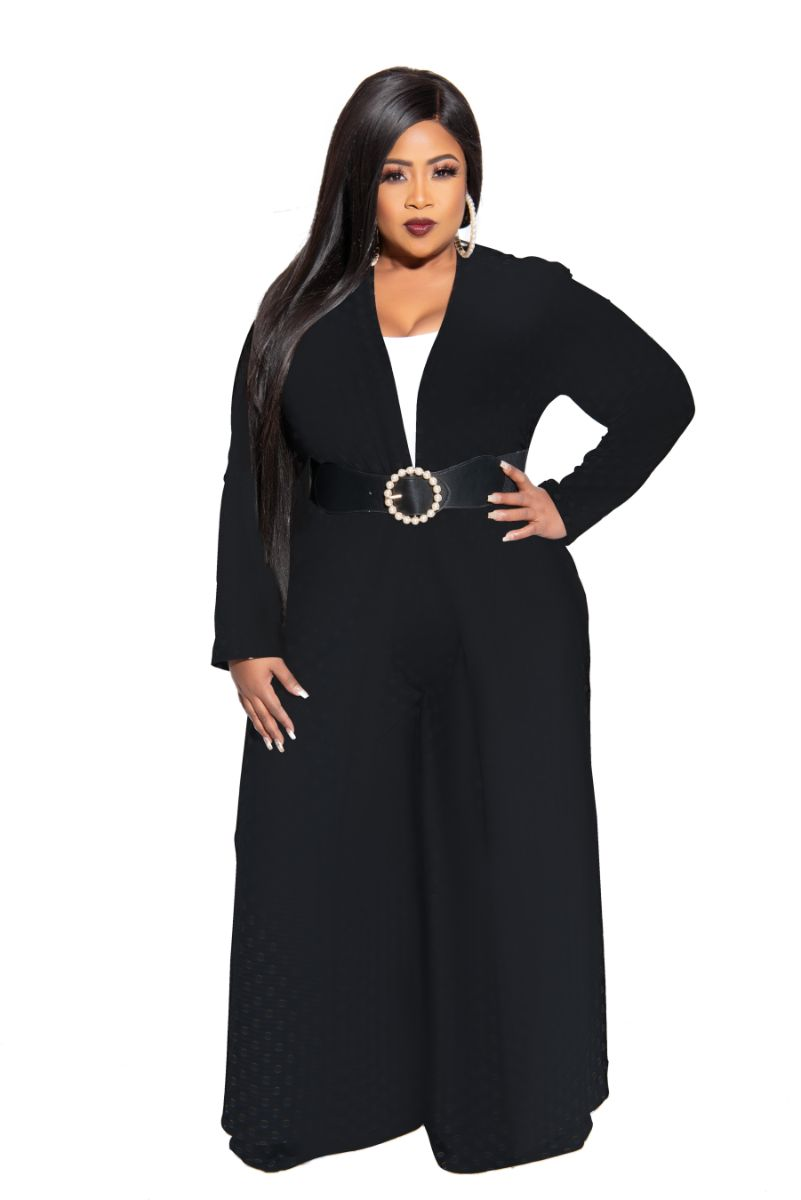 New Plus Size Exclusive Pocket Duster in Black