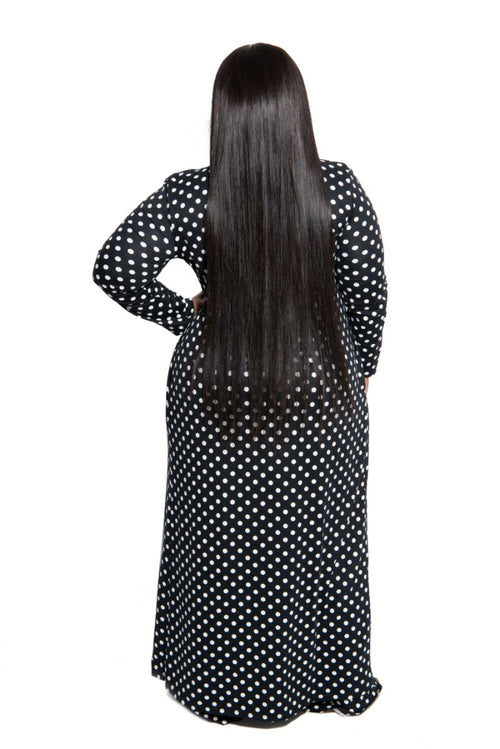 New Plus Size Exclusive Pocket Duster in Black with White Polka Dots