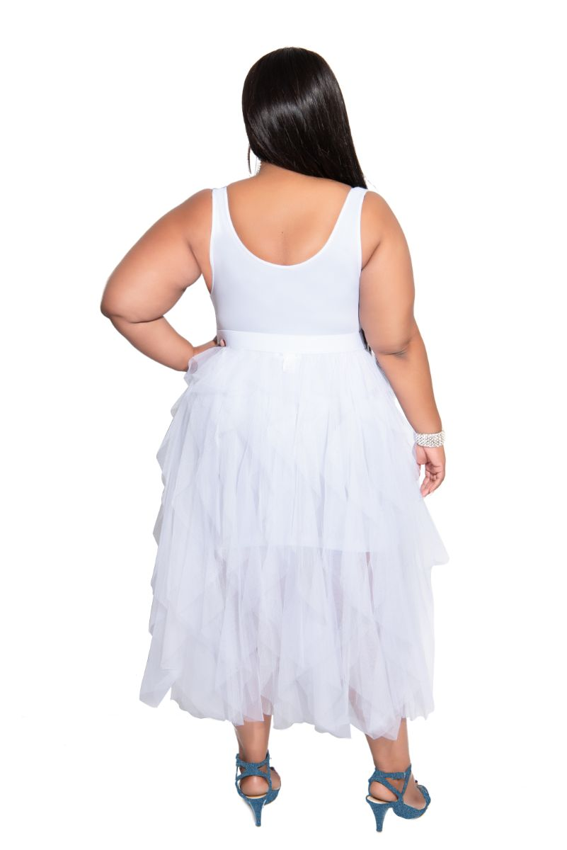 Final Sale Plus Size Ruffled Mesh Midi Skirt in White